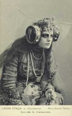 OMG in love with this photo and everything about it. Maria Germanova, of the Moscow Art Theatre, and this is from The Blue Bird, (L'Oiseau bleu ), a 1908 play by Maurice Maeterlinck. Jean Arp, Vanitas, Vintage Photographs, Costume Design, Blue Bird, Witchcraft, Magick, Old Photos, Antique Photos