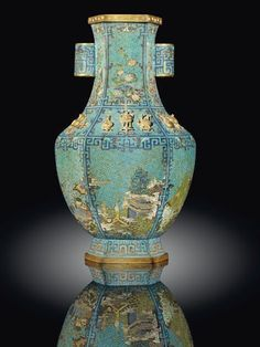 A Rare Cloisonne Enamel Arrow Vase with Gilt-Bronze Inlaid Motifs, Qianlong Period (1736-95)