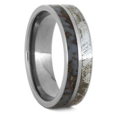 Dinosaur Ring, Meteorite Wedding Band With Fossilized Dinosaur Bone, Size 15.25-RS9443