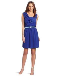 Reviews Tiana B Women's Drape Front Dress, Blue, Medium