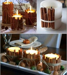 57 Classy Christmas Table Decorations and Settings That Look.- 57 Classy Christmas Table Decorations and Settings That Look Incredibly Beautiful Cinnamon Candles Table Decor for Christmas Dinner - Slim Artificial Christmas Trees, Slim Christmas Tree, Classy Christmas, Beautiful Christmas, White Christmas, Christmas Tree Decorating Tips, Christmas Table Decorations, Home Made Candy, Cinnamon Candles