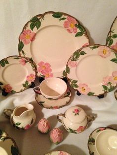 Vintage Franciscan  Desert Rose  Dinnerware Set for SIX / Back St&s / Hand Decorated Earthenware / Collectible / Cottage Chic by ThePinkVintageRose on ... & Franciscan Desert Rose Dinnerware Set 48 Pc. USA / Service for 8 ...