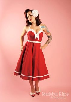 Sailor Swing Dress in Red with White Trim from Pinup Couture