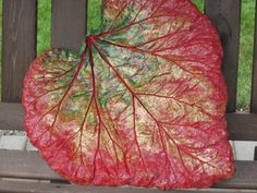 Cement Leaf created from a Rhubarb leaf. Then painted and sealed.