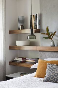 Lovely contemporary headboard and bedside shelf design. Home Decor Bedroom, Decor, Australian Interior Design, Home Bedroom, Bedroom Interior, Bedroom Design, Interior Design Awards, Home Decor, House Interior