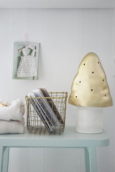 love the golden mushroom lamp | Julias Vita Drömmar ❥  Blueish and gold = love