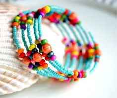 colorful memory wire beaded bracelet by pixiestrinkets.etsy.com