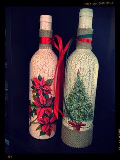 Christmas, bottle with decoupage