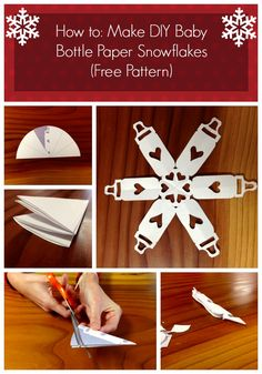 Love this for a winter baby shower!! How to: Make DIY Baby Bottle Paper Snowflakes