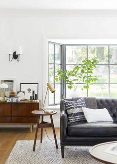Portland Project: The Living Room Reveal (Emily Henderson) Living Room Art, Living Room Designs, Living Spaces, Black Sofa, Decoration, Home Art, Just For You, Interior Design, Em Henderson