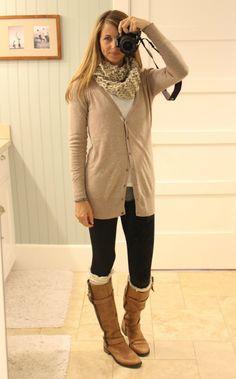 what i wore // long cardigan, cowl, fleece leggings, boots socks, boots