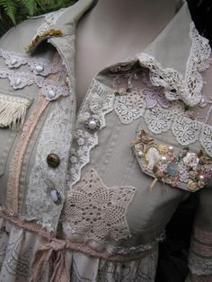 romantic STEAMPUNK upcycled coat.. Vintage Kitty.. deconstructed, vintage doilies, roses. via Etsy.