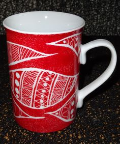 tasse en porcelaine peinte à la main : Vaisselle, verres par pigments-et-kaolin