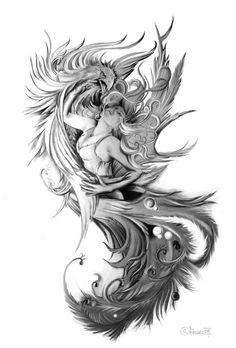 mein flash von engel tattoo phönixangel 2009 in meinem flash von engel tattoo ... - Phoenix Tattoo Feminine, Phoenix Bird Tattoos, Phoenix Tattoo Design, Tattoo Side, Arm Tattoo, Body Art Tattoos, Sleeve Tattoos, Tattoo Flash, Tatoos
