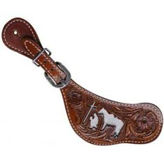 Showman Ladies Praying Cowboy Cut-Out Spur Strap With Cowhide Inlay