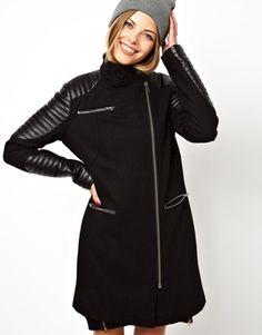 fucking LOVE this coatttttttt ----ASOS Biker Coat With PU Sleeve