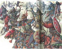 Turco-Mongol horse archers 13th/14th c. - art by M. Gorelik