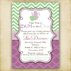 find this pin and more on baby lusby shower items similar to purple and green tea party invitation