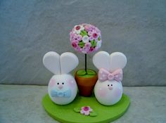 Bunny Pair Easter Figurines by countrycupboardclay on Etsy