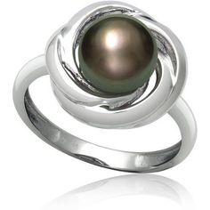8-9mm 3/4-Cut Tahitian Black Pearl Love Knot Sterling Silver Ring, Women's