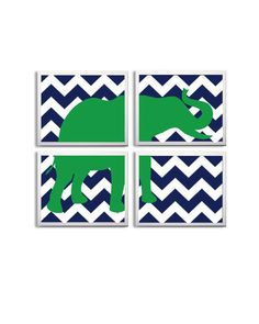 Nursery Art Chevron Boy Girl Elephant Safari Zoo Circus Jungle Kelly Green Navy set of 4 prints each 11x14. $56.00, via Etsy.