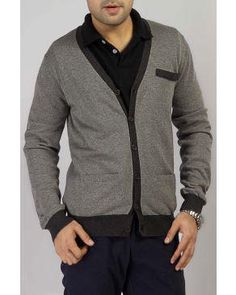 Grey Woolen Cardigan with Dark Grey Neckline & Bottom Line