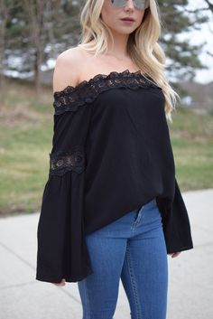 Gracie Black Off The Shoulder Top