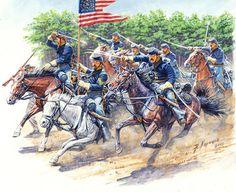 El 8º Regimiento de caballería de voluntarios de Pennsylvania cargando durante la batalla de Chancellorsville, 2 de Mayo de 1863. Más en www.elgrancapitan.org/foro