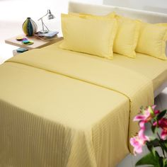 Yellow stripe color bed sheet with two pillow colors - 100% cotton