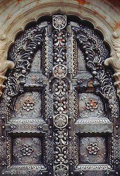 A beautiful metal door, Karni Mata Temple, Bikaner, Rajasthan, India