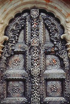 Beautiful Metal Door, Karni Mata Temple, Bikaner, Rajasthan, India~