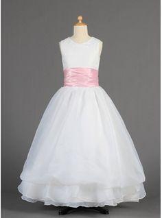 Corte A/Princesa Escote redondo Vestido Organdí Charmeuse Vestido para niña de arras con Fajas