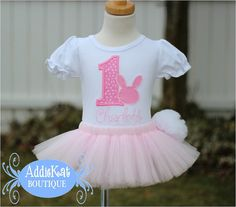 Items similar to PERSONALIZED Easter Bunny Birthday Tutu Outfit with Fluffy  Tail on Etsy 3d60f50fa06