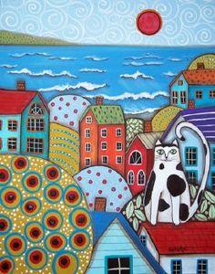 Trademark Global Karla Gerard 'Seaside Cat' Canvas Art - 47 x 35 x 2 Art Fantaisiste, Karla Gerard, Wal Art, Naive Art, Whimsical Art, Rug Hooking, Painting & Drawing, City Painting, Drawing Room