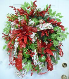XXL Holiday Christmas Door Wreath Exceptional by LadybugWreaths