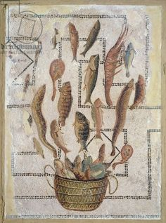 Pavement depicting fish escaping from a basket, from Sousse (mosaic), Roman, (2nd century AD) / Musee Archeologique, Sousse, Tunisia / Giraudon / The Bridgeman Art Library