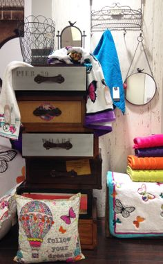 BHS HOME SS14, Chest of drawers, bathroom mirror, towels, hot air balloon cushion, vintage look