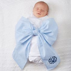 Monogrammed Big Bow Swaddles