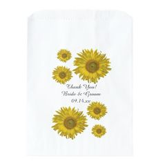 Yellow #Sunflowers #Wedding Thank You Favor #Bags Use these pretty Yellow Sunflowers Wedding Thank You Favor Bags for your wedding or bridal shower favors. Personalize them with the names of the bride and groom and marriage ceremony date. These elegant custom floral wedding thank you bags feature yellow sunflower blossoms with a white background. Perfect for a classy summer, fall or sunflower wedding theme. #favorbags #weddingfavors #sunflowerwedding