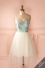 Alessandra Joie Aqua - Floral print tulle dress