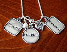 Three Raised Rim Name Charms, Triple Charm Necklace, Mom of Three Pendant Necklace