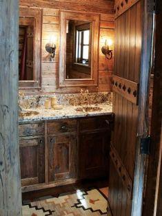Small Dark Bathroom Ideas Luxury Add Glamour with Small Vintage Bathroom Ideas Rustic Bathroom Accessories, Rustic Bathroom Designs, Rustic Home Design, Modern Bathroom Design, Rustic Style, Tuscan Bathroom Decor, Rustic Bathroom Vanities, Rustic Bathrooms, Bathroom Ideas