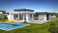 veľký bungalov Linear 324 Modern Small House Design, Modern Villa Design, Modern Bungalow House, Modern House Facades, House Plans Mansion, My House Plans, Morden House, House Outside Design, Model House Plan