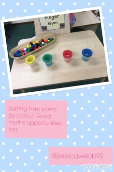 Sort the pom poms into the correctly coloured paint pot. 1:1 counting opportunities as well as addition and comparing which pot has the most pom poms.