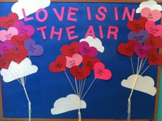 February bulletin board - kids color white hearts with red, pink, and purple crayons? : February bulletin board - kids color white hearts with red, pink, and purple crayons? February Bulletin Boards, Valentines Day Bulletin Board, Class Bulletin Boards, Preschool Bulletin Boards, Valentine Theme, Valentine Crafts, Valentine Ideas, Preschool Crafts, Crafts For Kids