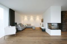Architect-Architekturbuero architects Haus-family house-N .- Architect-Architekturbuero architect house single-family new construction Modern Fireplace, Fireplace Design, Architecture Office, Sustainable Architecture, Foyer Design, House Design, Architect House, Home Decor Trends, Detached House