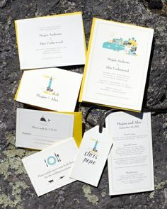 Hello!Lucky created this ocean-blue and bright yellow stationery suite featuring nautical illustrations for a wedding on Martha's Vineyard