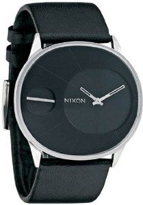 Rayna Stainless Steel Case Leather Bracelet Black Tone Dial