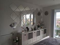 Grey bedroom, IKEA Kallax, IKEA LOTS mirrors