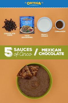 Looking for a dessert to serve your Cinco de Mayo crowd? This Mexican Chocolate Dip is made with only 4 ingredients, including Ortega Taco Seasoning for a zesty kick. This sweet take on a savory snack is a fun way to switch up your Cinco spread.   Ingredients: 1/2 cup dark chocolate chips, 1/2 cup heavy cream, 1 tsp Ortega Taco Seasoning, 1 tsp cinnamon  Melt chocolate chips in microwave. Combine with 1/2 cup heavy cream, Ortega Taco Seasoning and cinnamon. Blend together and serve hot! Melt Chocolate, Mexican Chocolate, Melting Chocolate Chips, Dark Chocolate Chips, World Recipes, Dip Recipes, Great Recipes, Sauce Recipes, Recipies